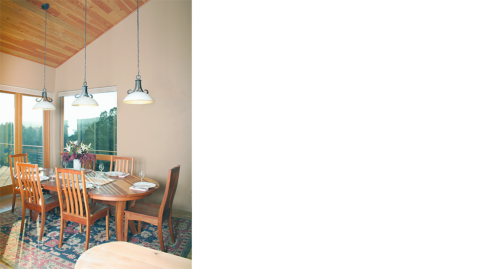 Dining room with view windows and sustainably-harvested doug fir, cathedral ceiling